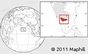 Blank Location Map of Mysore, highlighted parent region