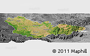 Satellite Panoramic Map of Mysore, desaturated