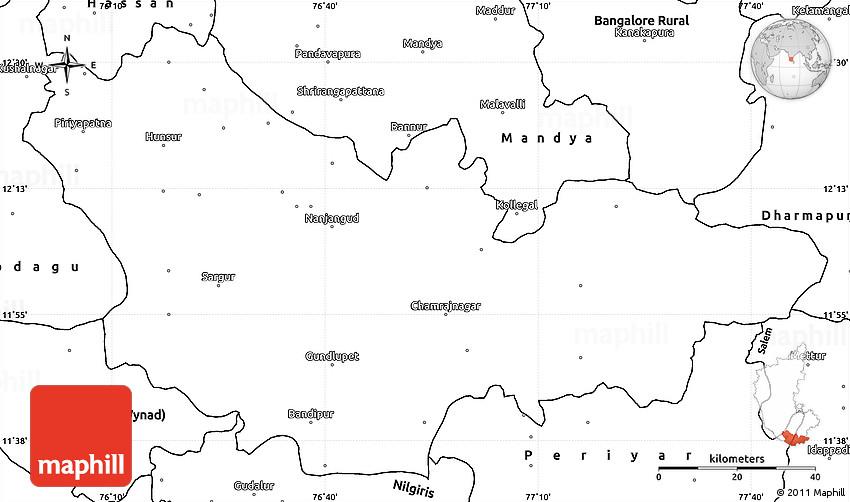 Blank Simple Map of Mysore