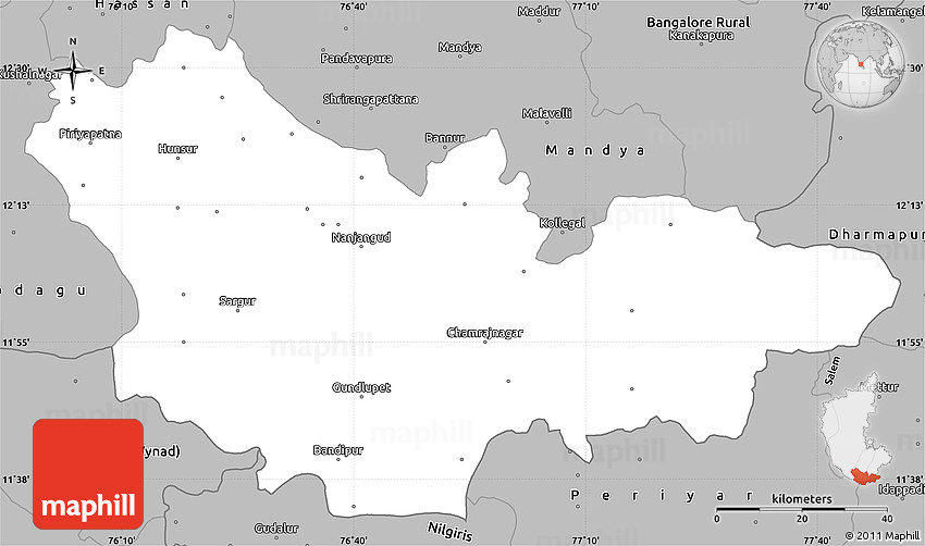 Gray Simple Map of Mysore