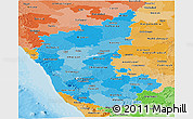 Political Shades Panoramic Map of Karnataka