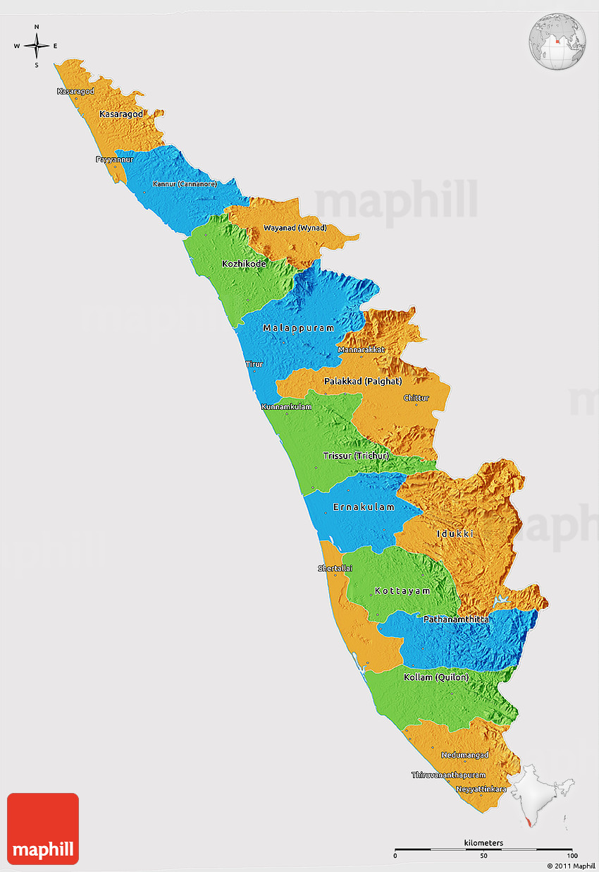 Political 3D Map of Kerala, cropped outside