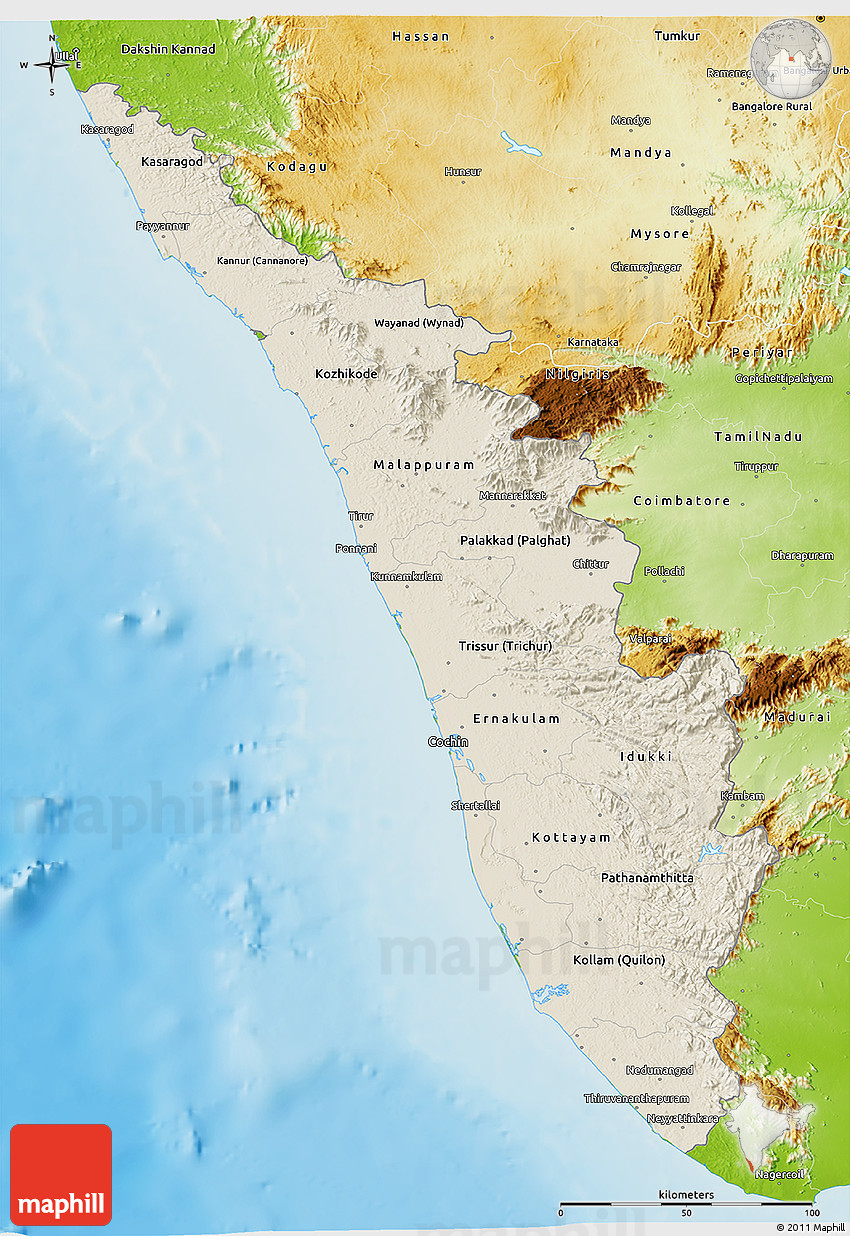 Shaded Relief 3d Map Of Kerala Physical Outside