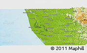 Physical Panoramic Map of Alleppey