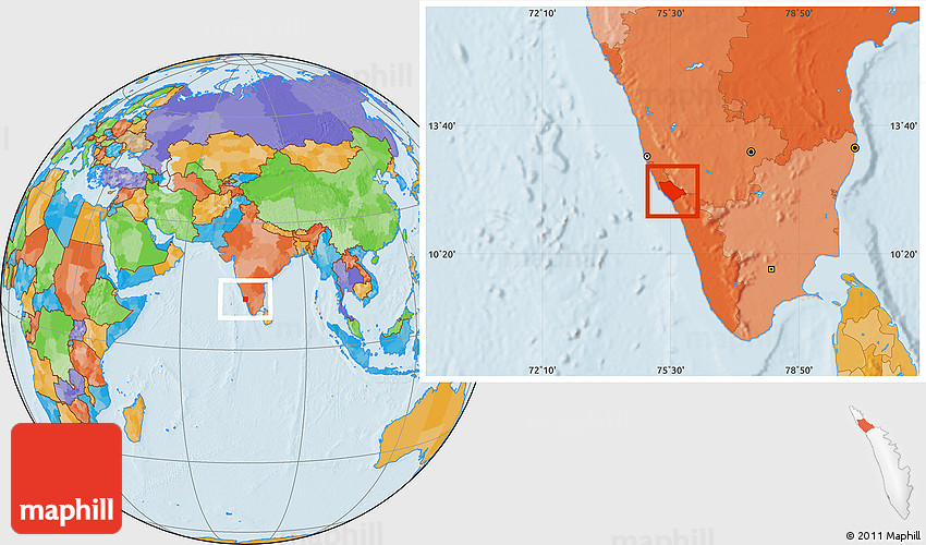 Political Location Map of Kannur (Cannanore) on world map india agra, world map iran tehran, world map pakistan lahore,