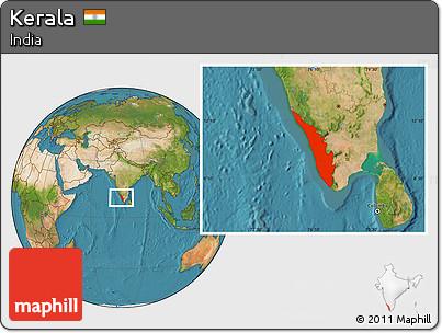 Le Kerala sur la carte satellite