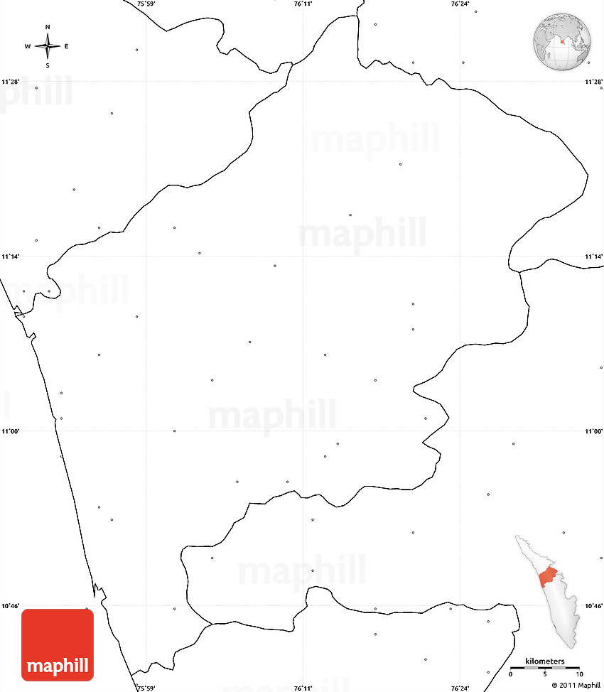 blank simple map of malappuram no labels