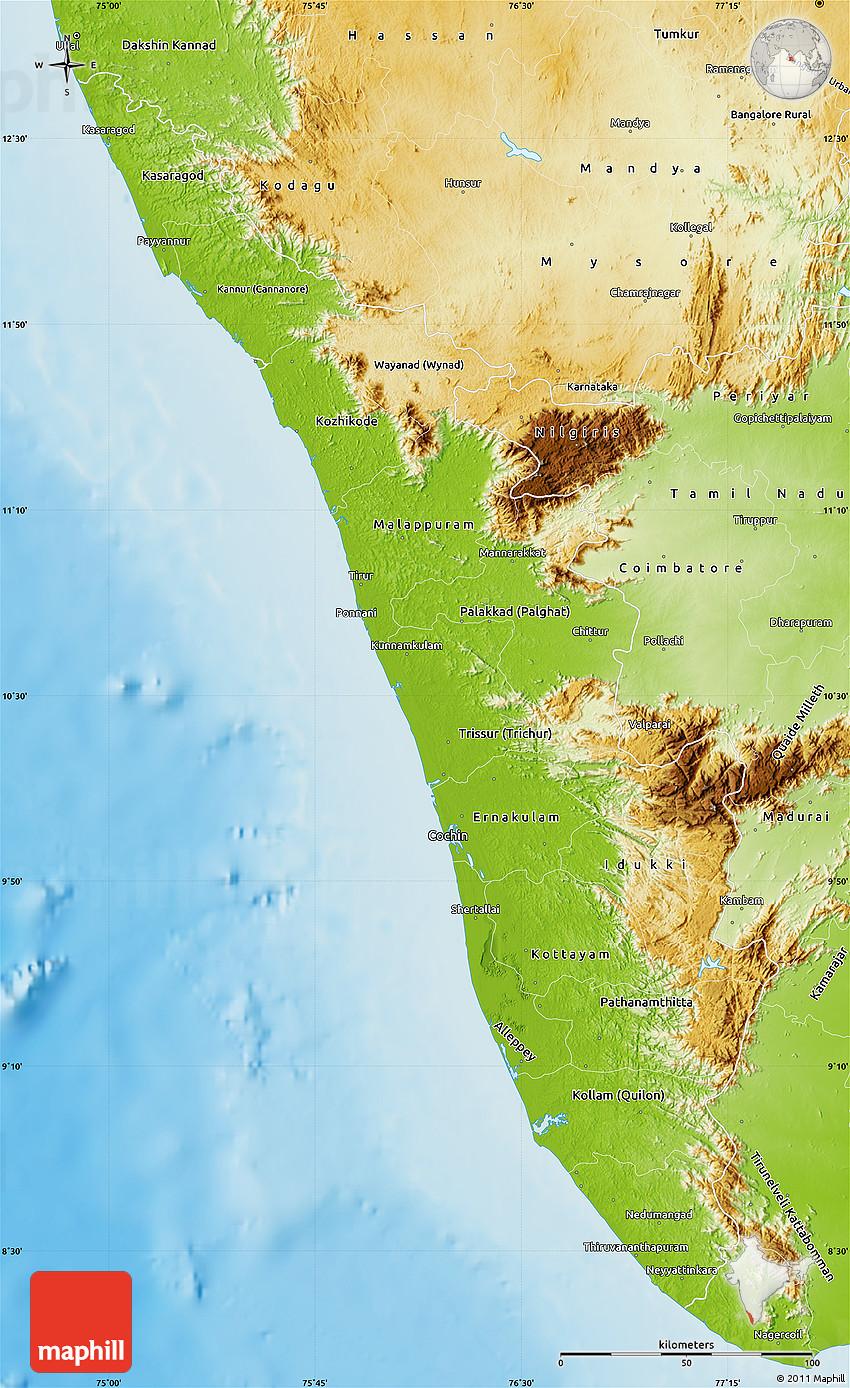 Physical Map Of Kerala