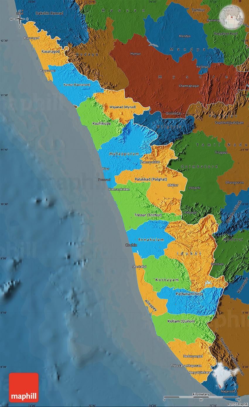 2D Political Map of Kerala darken