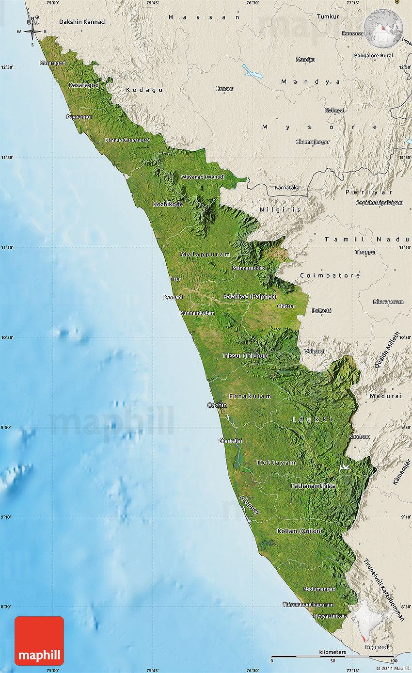 Satellite Map Of Kerala Shaded Relief Outside