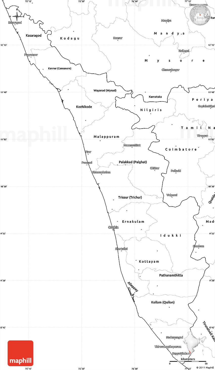 blank simple map of kerala