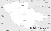 Silver Style Simple Map of Wayanad (Wynad)
