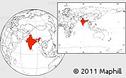 Blank Location Map of India, within the entire continent