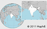 Blank Location Map of India, gray outside