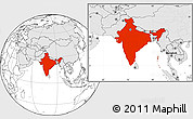 Blank Location Map of India, highlighted continent
