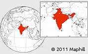 Blank Location Map of India