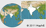 Blank Location Map of India, satellite outside
