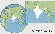 Blank Location Map of India, savanna style outside