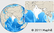Blank Location Map of India, shaded relief outside