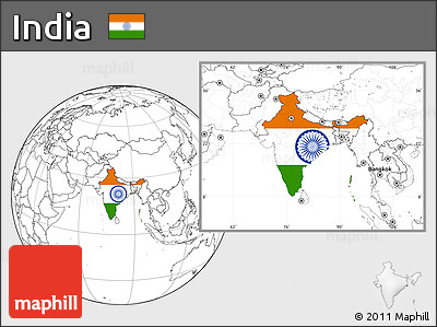 Flag Location Map of India, blank outside