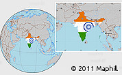Flag Location Map of India, gray outside