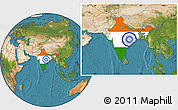 Flag Location Map of India, satellite outside