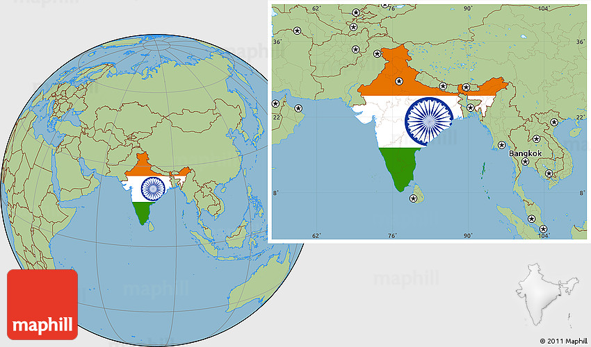 India Flag Map: Flag Location Map Of India, Savanna Style Outside