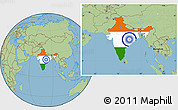 Flag Location Map of India, savanna style outside