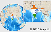 Flag Location Map of India, shaded relief outside