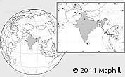 Gray Location Map of India, blank outside