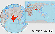 Gray Location Map of India, within the entire continent