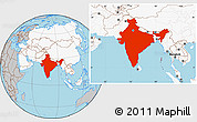Gray Location Map of India, highlighted continent