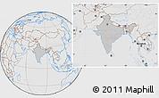 Gray Location Map of India, lighten, desaturated