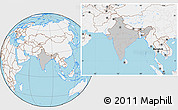 Gray Location Map of India, lighten, land only