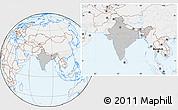 Gray Location Map of India, lighten