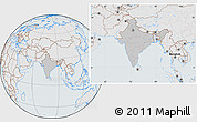 Gray Location Map of India, lighten, semi-desaturated