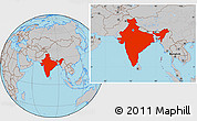 Gray Location Map of India