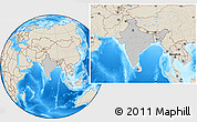 Gray Location Map of India, shaded relief outside