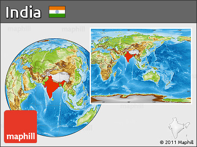 Physical Location Map of India, within the entire continent