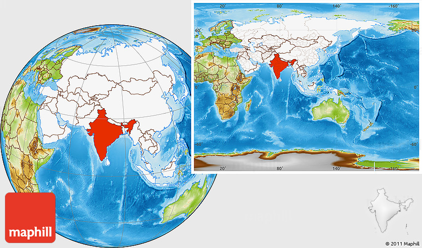 On The Globe India: Physical Location Map Of India, Highlighted Continent