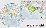 Physical Location Map of India, lighten, semi-desaturated