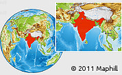 Physical Location Map of India