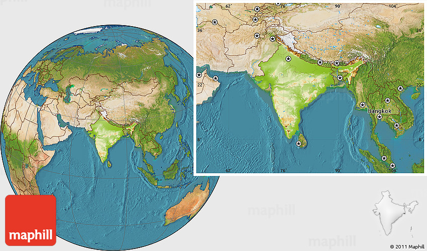 Physical Location Map Of India  Satellite Outside
