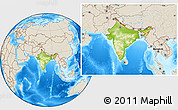 Physical Location Map of India, shaded relief outside
