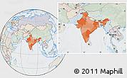 Political Location Map of India, lighten, semi-desaturated