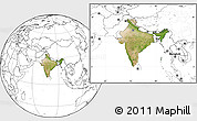 Satellite Location Map of India, blank outside