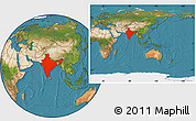 Satellite Location Map of India, within the entire continent