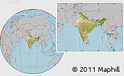 Satellite Location Map of India, gray outside, hill shading