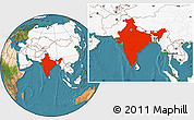 Satellite Location Map of India, highlighted continent
