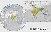 Satellite Location Map of India, lighten, desaturated